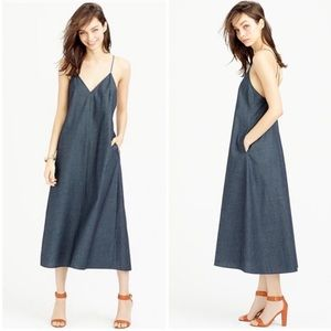 J. Crew strappy chambray casual midi dress